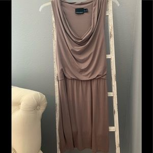 Cynthia Rowley taupe cowl neck dress
